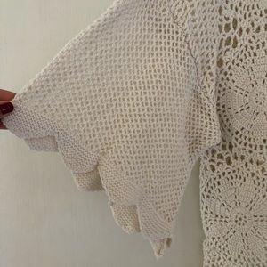 Sweaters - Crochet front tie cardigan